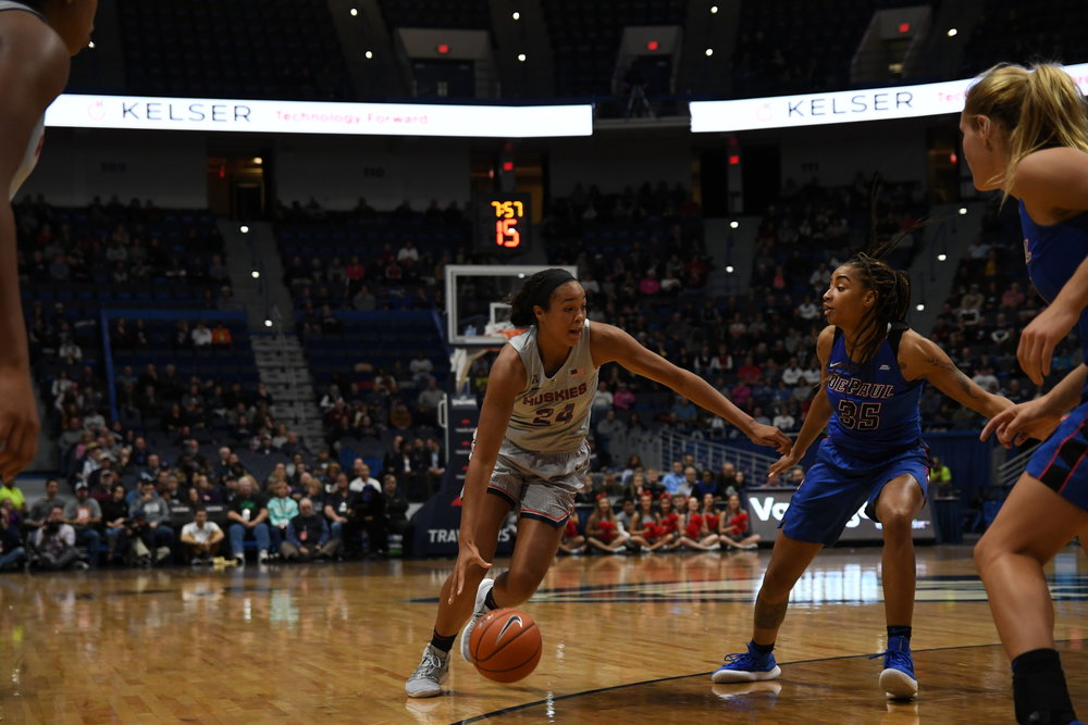 The UConn women's basketball team takes on DePaul University at the XL Center on November 28, 2018. The game resulted in a 99-63 win for the Huskies (Judah Shingleton/The Daily Campus)