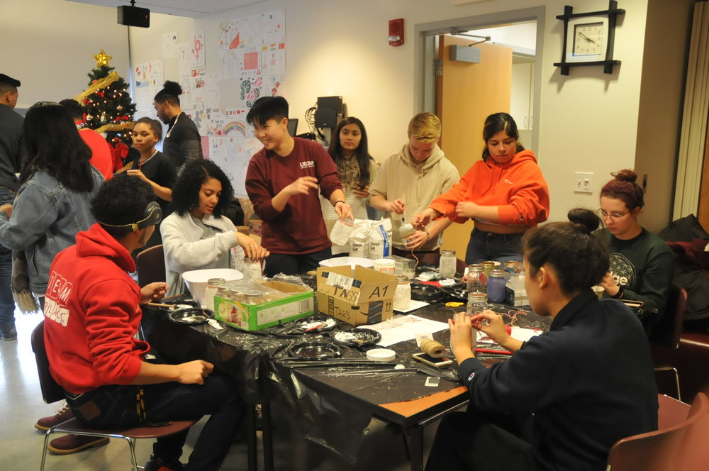 Students gather in the Asian American Cultural Center to make snow globes, hot cocoa, paint masks, and much more to de-stress before finals week. (Hanaisha Lewis/The Daily Campus)