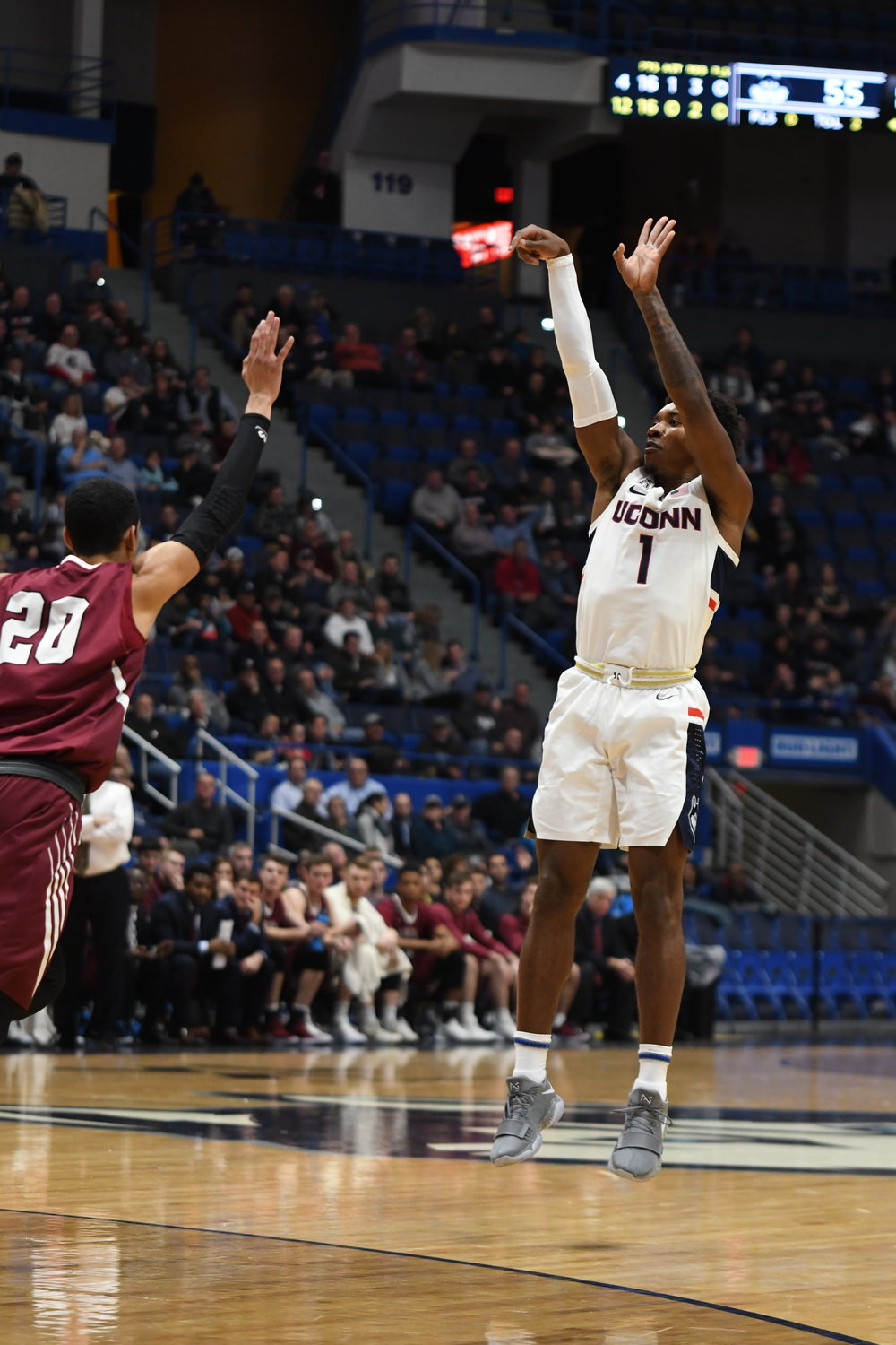 Christian Vital attempts a 3-pointer. The Huskies demolished Lafayette 90-63 in the XL Center to improve to 7-2. Photo by Eric Wang, Staff Photographer/The Daily Campus