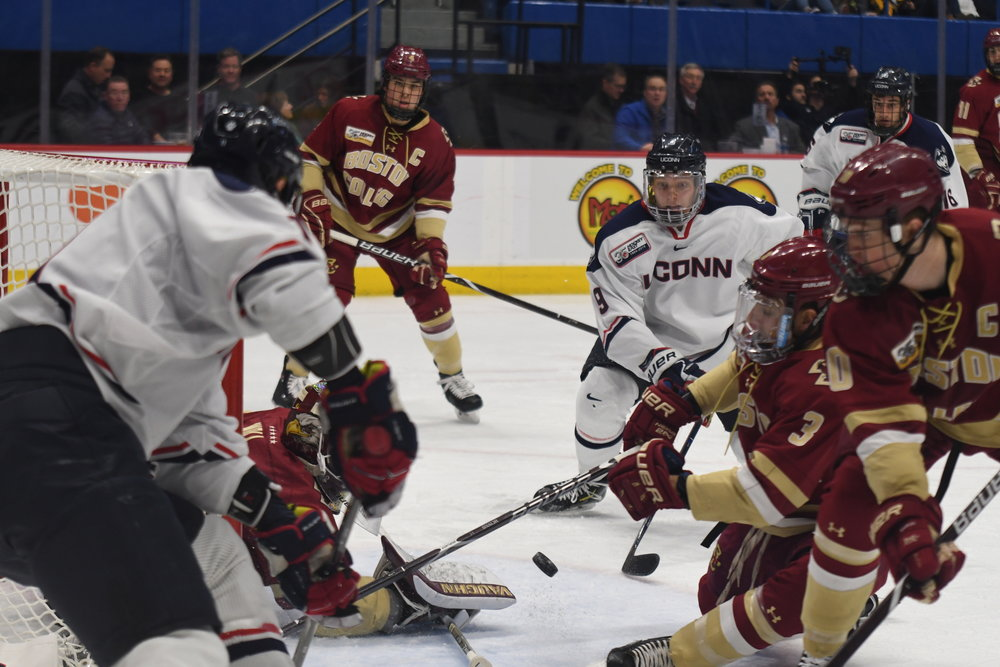 Men's Hockey lost a tough Hockey East contest to Boston College by a score of 4-0 (Judah Shingleton/The Daily Campus)