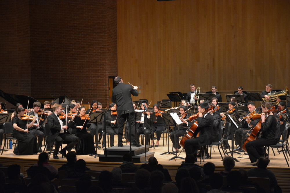 The UConn Symphony Orchestra attracted a full house in van der Mehden Thursday night. The group featured winners of the 2018 Aria and Concerto Competition (Nicholas Hampton/The Daily Campus.
