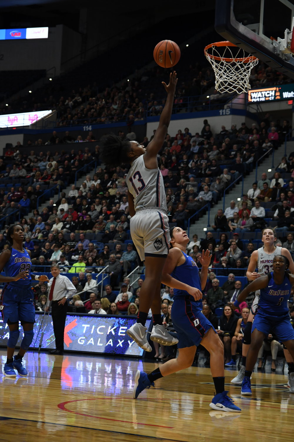 Christyn Williams has provided the Huskies with explosive athleticism from the guard position during her freshman season. Photo by Judah Shingleton/The Daily Campus