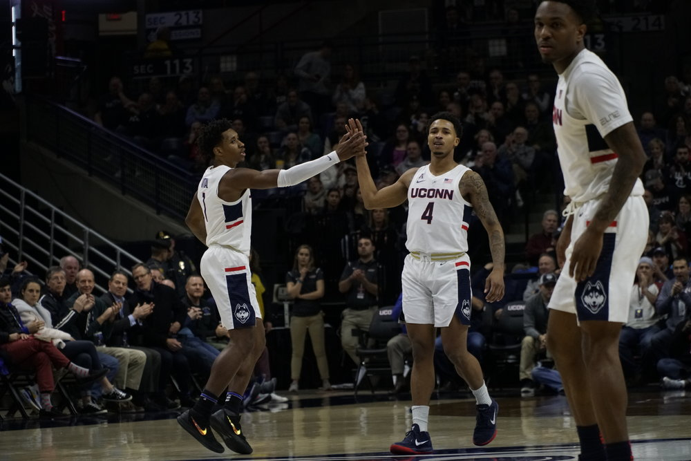 With improved guard play, the Huskies got back in the win column Thursday night. Photo by Eric Wang/The Daily Campus