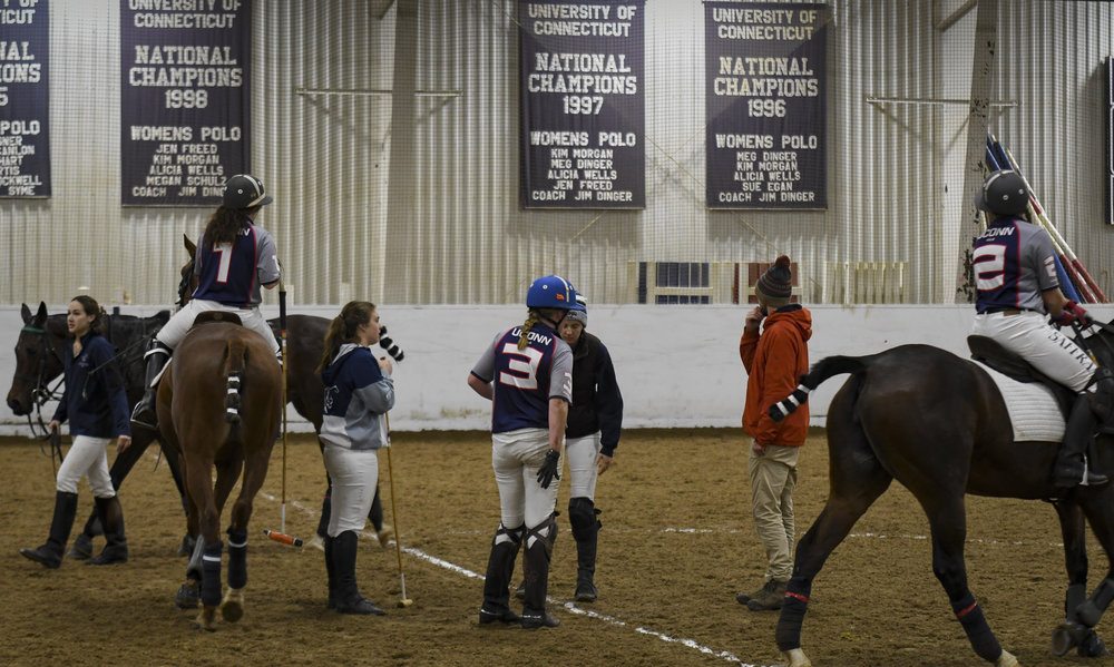 The game pauses after Nicole Kula is flung from her horse. Checking to make sure both the player and the horse are uninjured is protocol when a situation of this kind occurs.