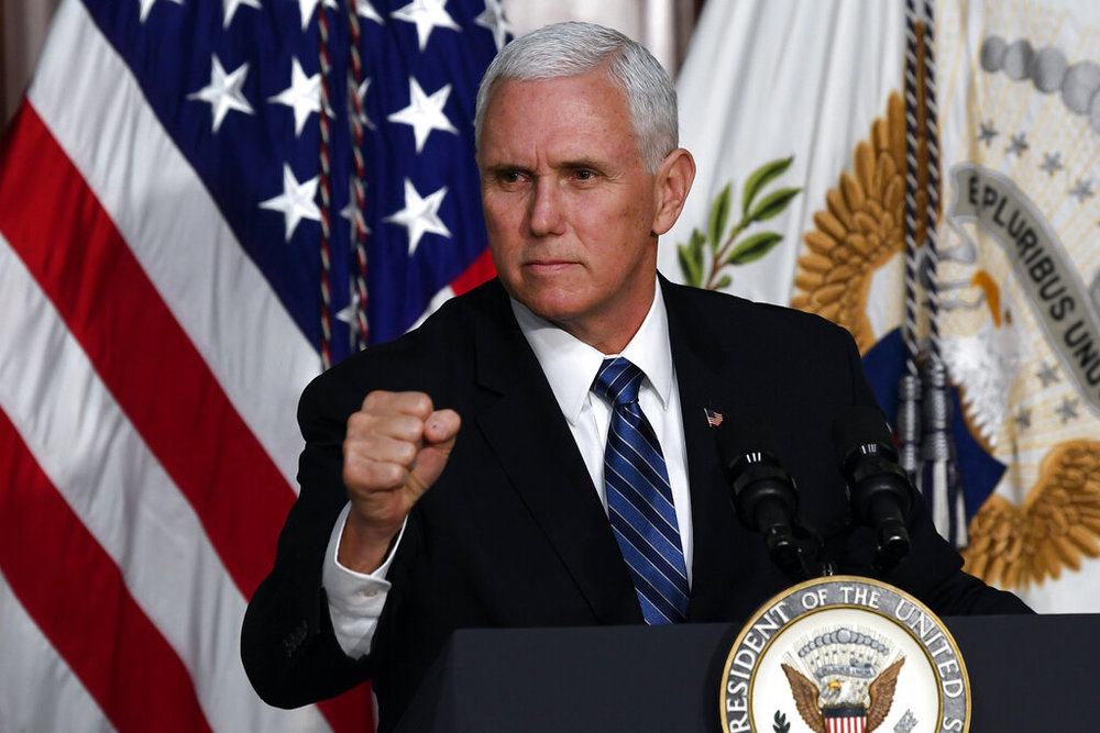 Vice President Mike Pence speaks to a group of High Intensity Drug Trafficking Area directors and deputy directors in the Indian Treaty Room in the Eisenhower Executive Office Building on the White House Complex in Washington, Thursday, Feb. 7, 2019. (AP Photo/Susan Walsh)