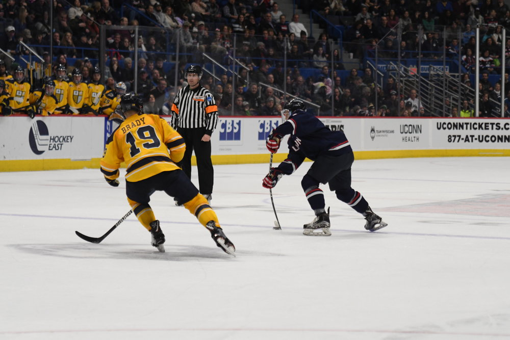 The Huskies had probably their best weekend of the year, going 2-0 with an upset with over No. 13 Northeastern and a 5-0 thrashing of Merrimack. (Kevin Lindstrom/The Daily Campus)