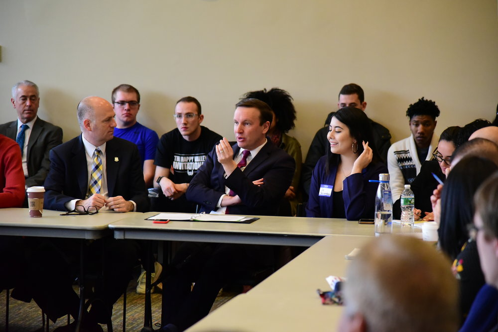 Chris Murphy joins students, faculty, and community members of not only UConn, but from the surrounding areas as well, to talk about food insecurity and how it affects college goers in particular. (Kush Kumar/The Daily Campus)