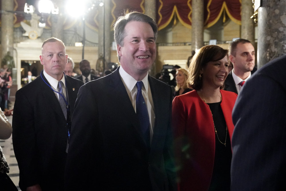 Supreme Court Associate Justice Brett Kavanaugh, arrives to hear President Donald Trump deliver his State of the Union address to a joint session of Congress on Capitol Hill in Washington, Tuesday, Feb. 5, 2019. (AP Photo/Carolyn Kaster)