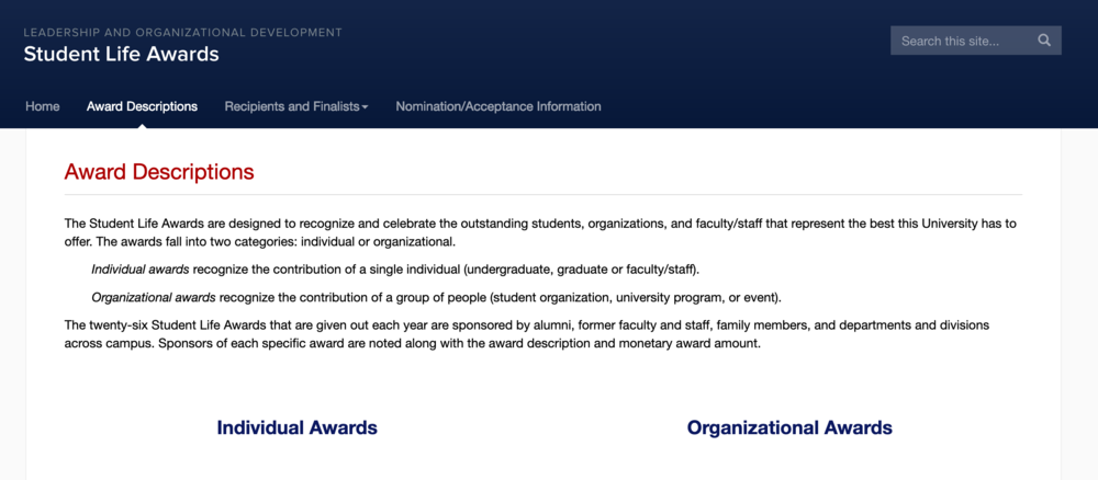 A new award is accepting nominations to open to anyone at the University of Connecticut who speaks about difficult topics in a welcoming way, Ellie Daugherty, Associate Vice President for student affairs and Dean of students, said. (Screenshot via website)