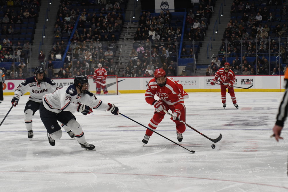 The Huskies defeated BU in overtime last Friday in the XL Center. The game was intense with many penalties being issued to both teams. (Photo by Kevin Lindstrom/The Daily Campus)