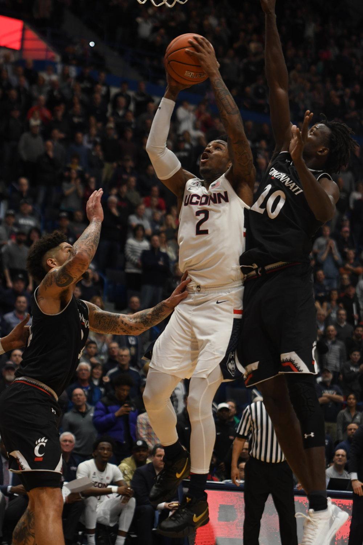 UConn guard Tarin Smith (#2)  attacks the basket in the Huskies' loss to Cincinnati on Sunday. (Judah Shingleton/The Daily Campus)