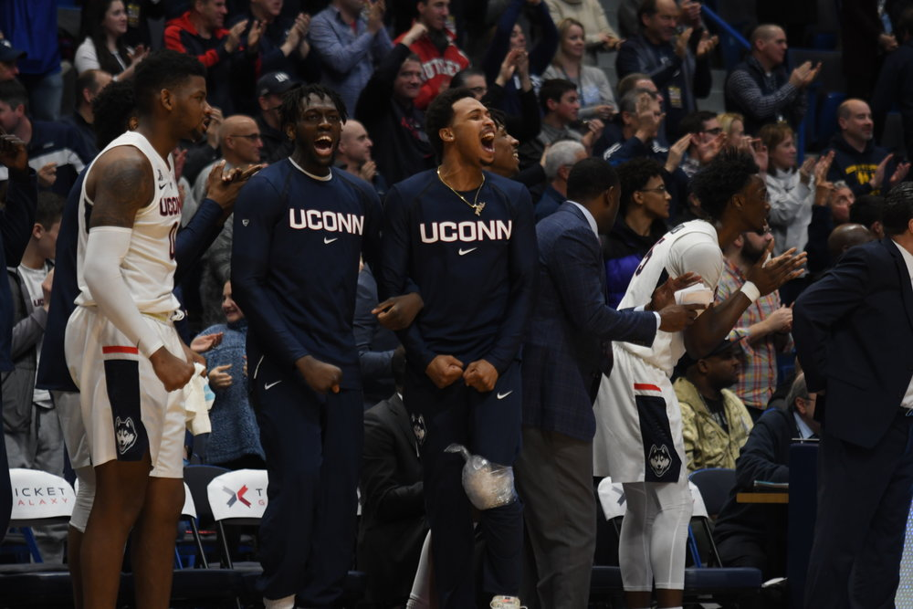 UConn's bench reacts during the Huskies' comeback bid on Sunday. The Huskies would ultimately come up short. (Judah Shingleton/The Daily Campus)