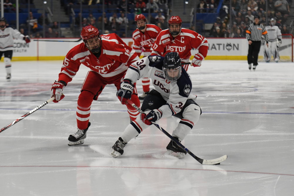 After beating BU in an intense overtime match-up, the UConn men's hockey team looks to add another win against No. 8 Providence this Tuesday night (Photo by Kevin Lindstrom/The Daily Campus)