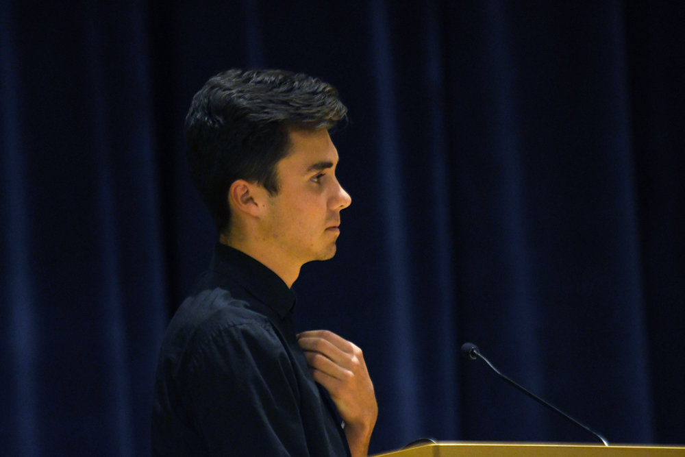 Marjory Stoneman Douglas High School shooting survivor and activist David Hogg speaks and answers students' questions about youth activism in the Student Union Theater on March 4, 2019. (Judah Shingleton/The Daily Campus)