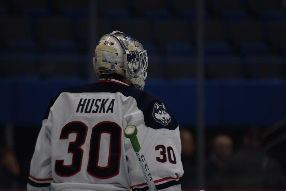 UConn Men's Hockey Goalkeeper Adam Huska. (Photo by kevin lindstrom/The Daily Campus)