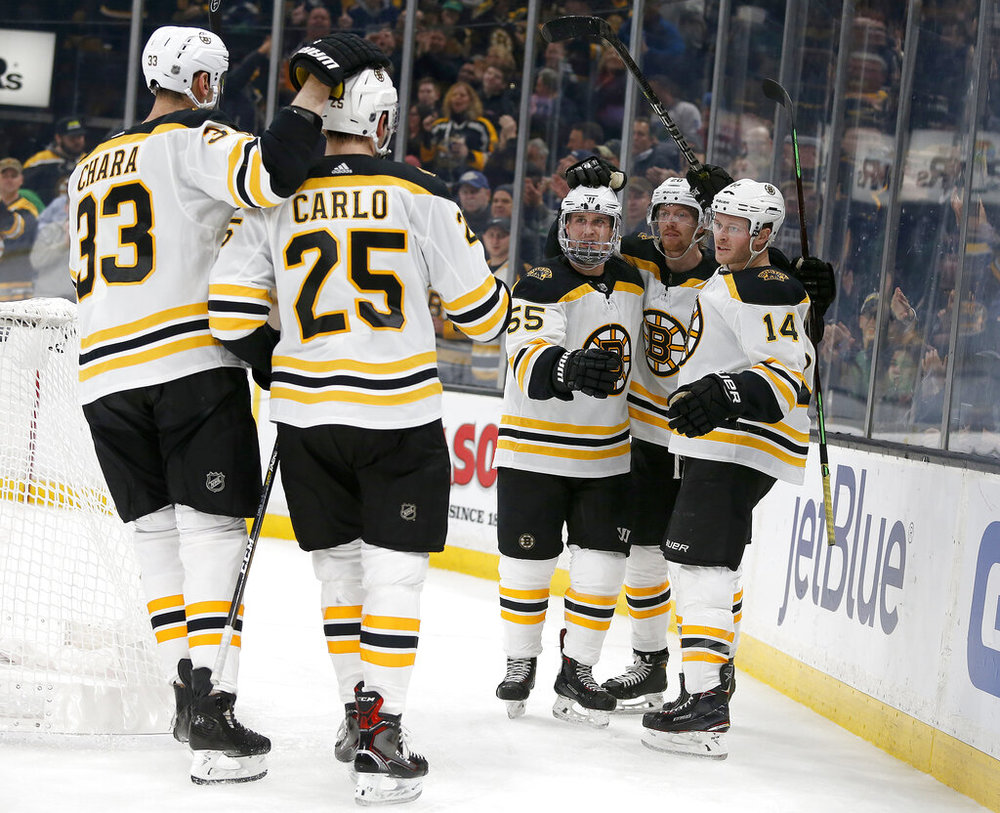 Boston Bruins right wing Chris Wagner (14) is congratulated by teammates  after scoring a 2a35b9ee6
