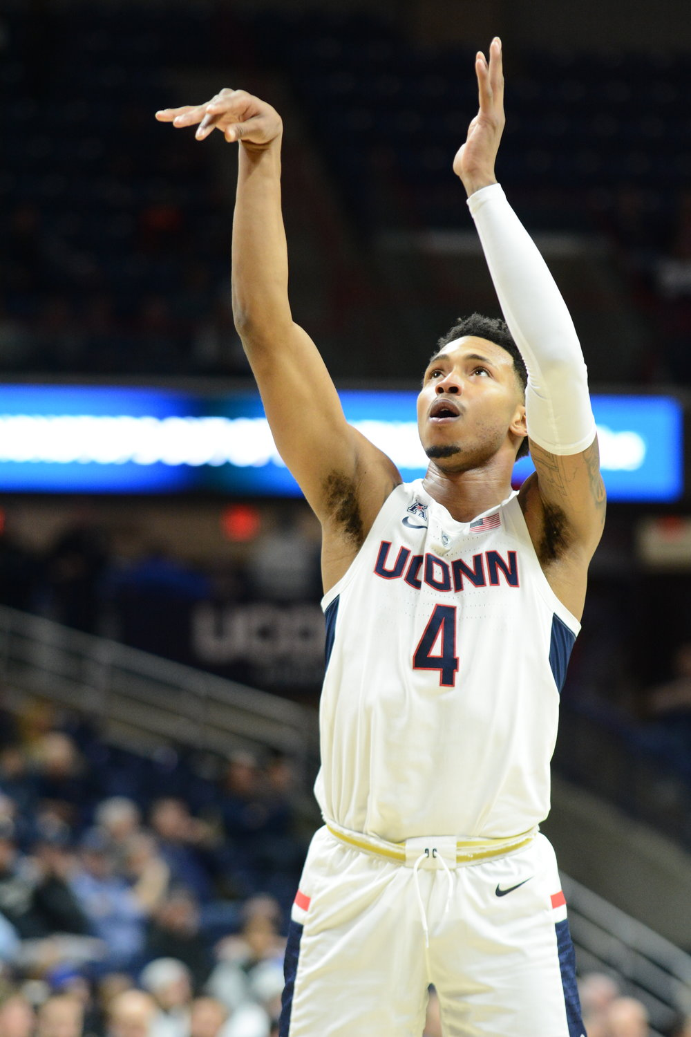 Jalen Adams will not be playing in his senior night game against Temple. (Eric Wang/The Daily Campus)