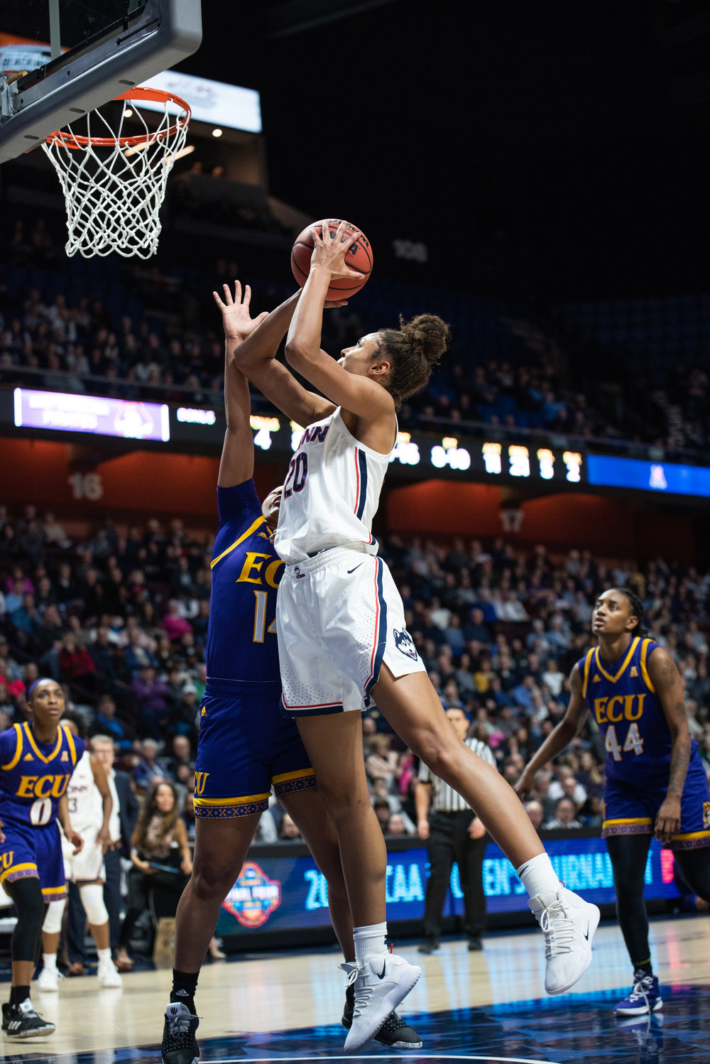 Freshman Olivia Nelson-Ododa started her second-straight game in Katie Lou Samuelson's absence and impressed with five blocks. Photo by Charlotte Lao/The Daily Campus