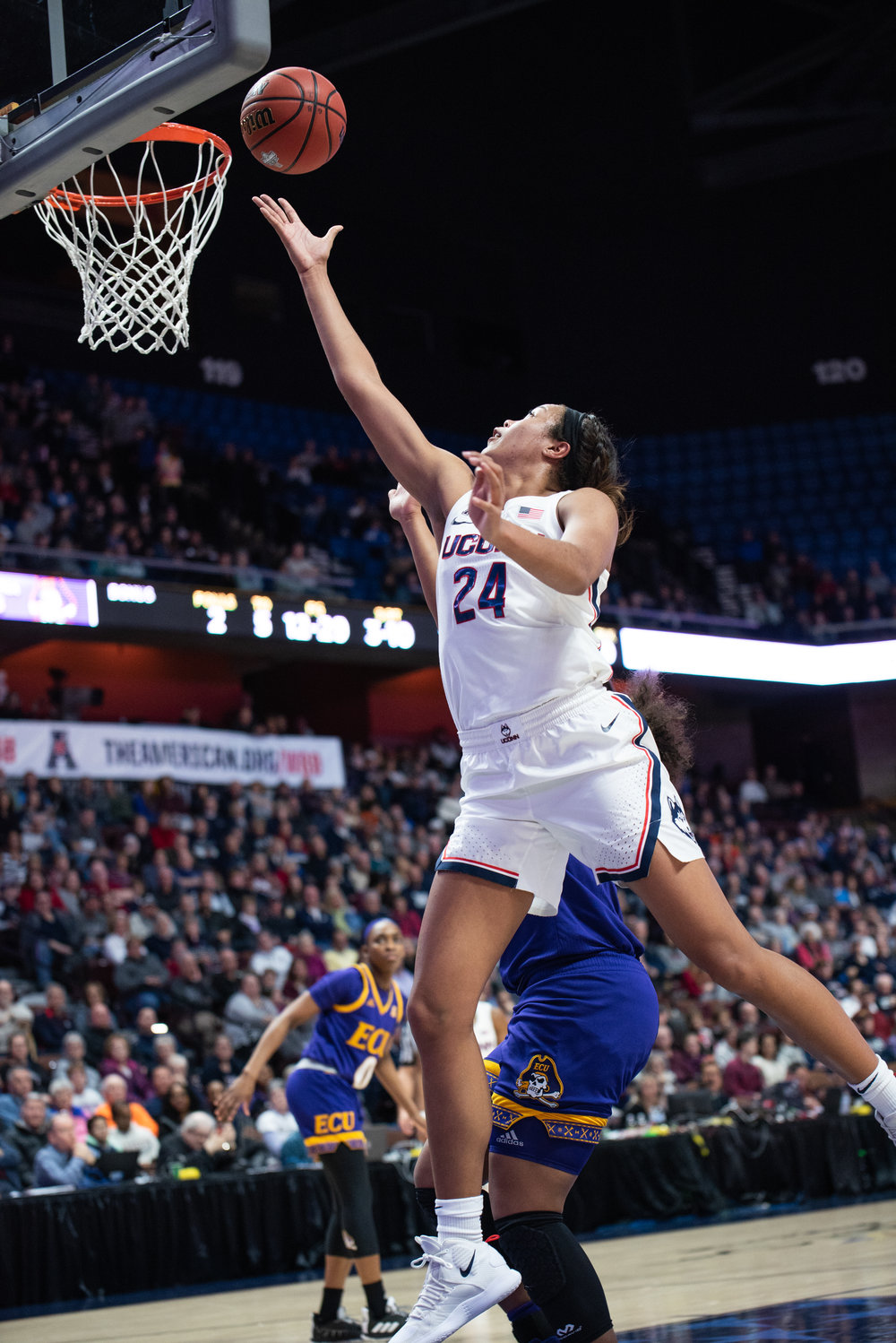 Napheesa Collier nearly dropped 40 points on ECU as UConn rolls past the Pirates 92-65. Photo by Charlotte Lao/The Daily Campus