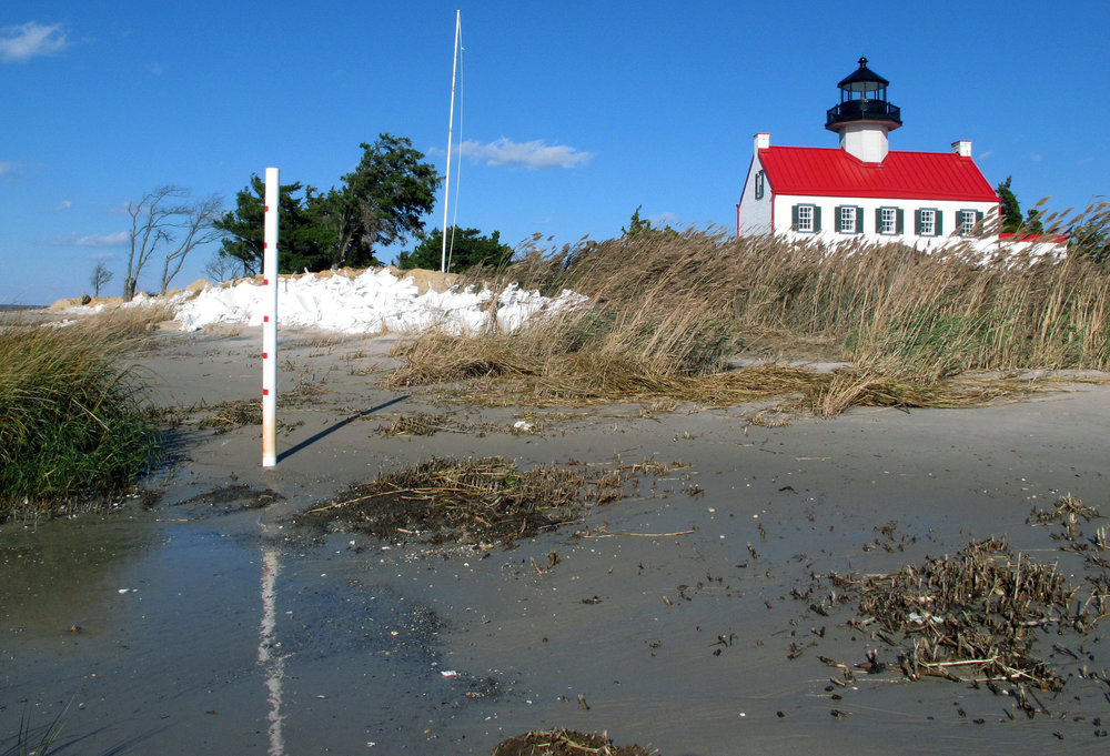 In this Nov. 10, 2018, file photo, water from the Delaware Bay approaches the East Point Lighthouse in Maurice River Township, N.J. Rising seas and erosion are threatening lighthouses around the world, including the East Point Lighthouse. As climate change becomes a hotter topic in American classrooms in 2019, some politicians are pushing back against the scientific consensus that global warming is real and man-made. (AP Photo/Wayne Parry, File)