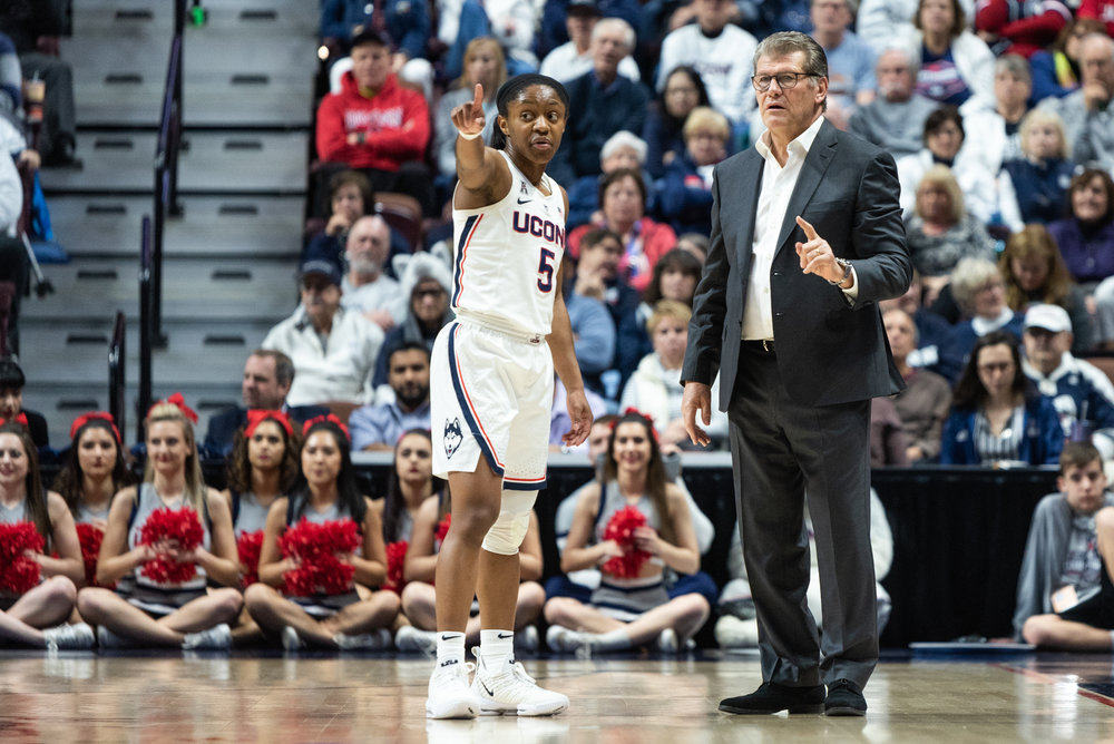 UConn's Crystal Dangerfield scored 13 points and 6 assists in their AAC championship win over UCF (Photo by Charlotte Lao/The Daily Campus)