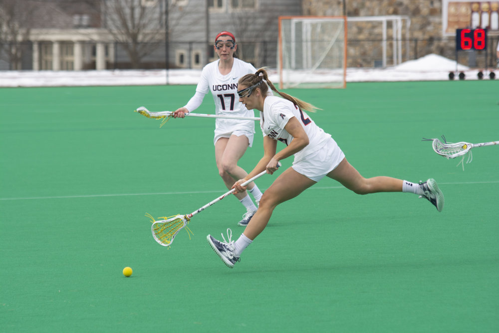 The women's lacrosse team won 10-9 against the University of Albany. Their next home game will be against Columbia on Saturday March 16. Photo by Nicholas Hampton/The Daily Campus