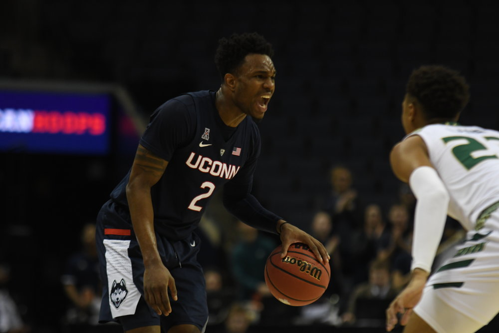 Tarin Smith yells. He scored 14 points in UConn's win. (Judah Shingleton/The Daily Campus)
