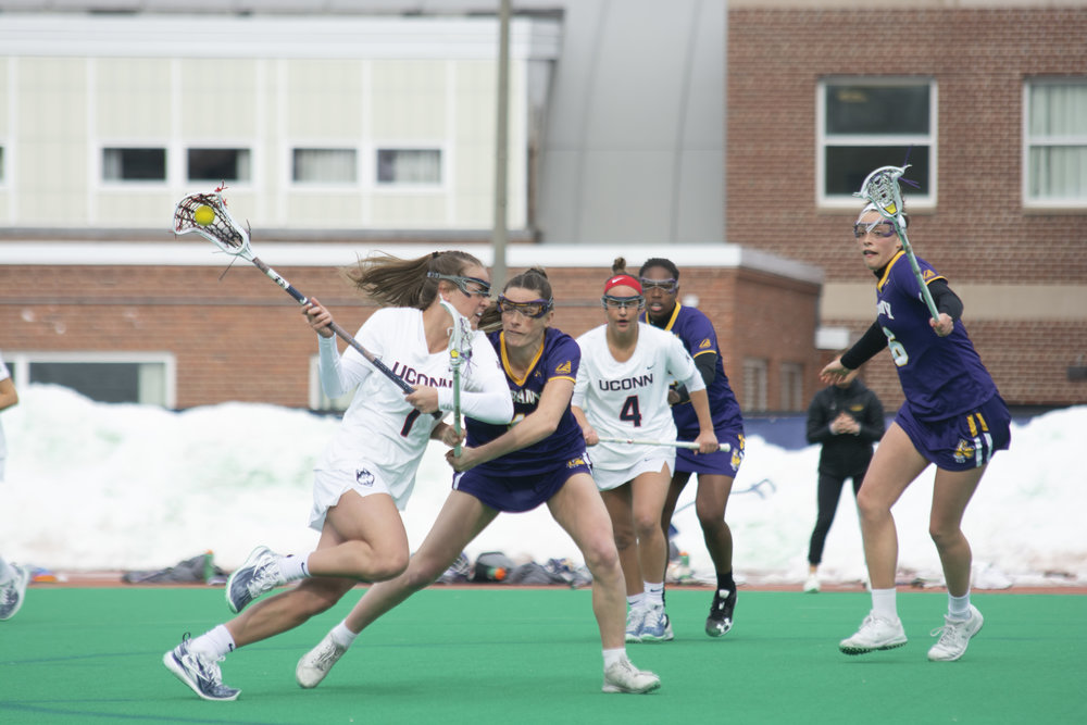 The women's lacrosse team won 10-9 against the University of Albany. Their next home game will be against Columbia on Saturday March 16. (Photo by Nicholas Hampton/The Daily Campus)