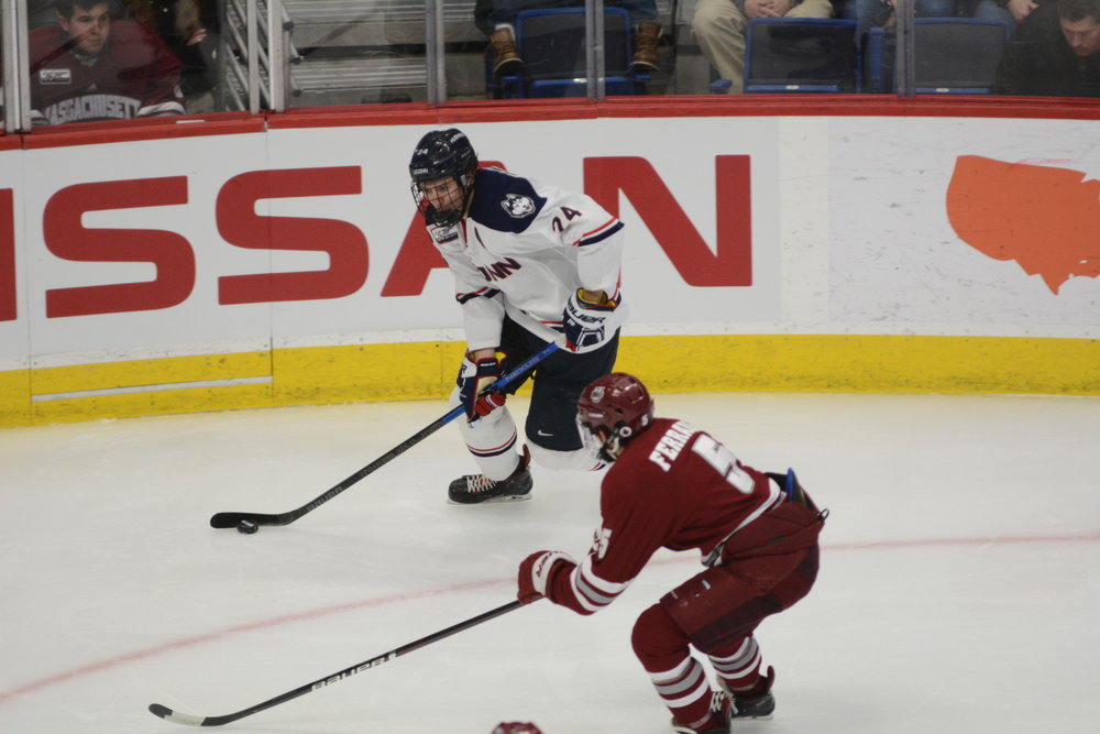 The Huskies won 4-3 against the UMass Minutemen on Friday. They also celebrated Senior Night for their three seniors: Miles Gendron (10), Karl El-Mir (16), and Max Kalter(18) as their last season game. (Photo by Eric Wang/The Daily Campus)