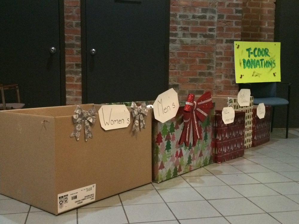 Donation Boxes at T-COOR's 2nd Annual Holiday Party at Film Port