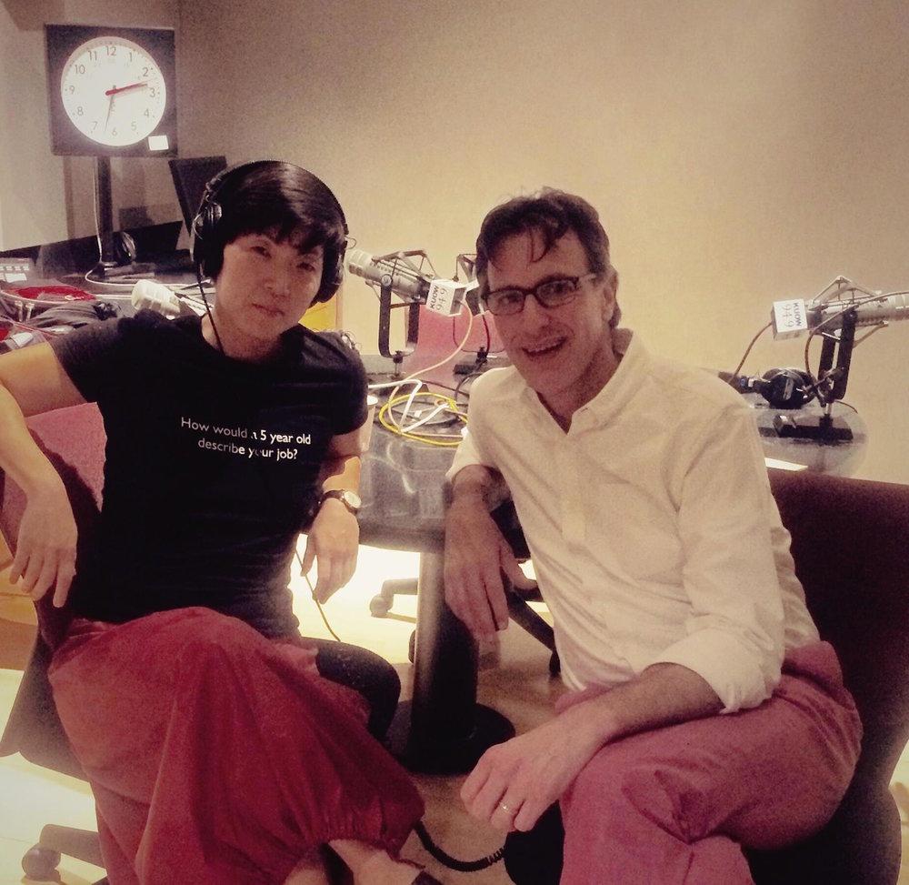 Siren's Susie Lee in the KUOW studio with Bill Radke