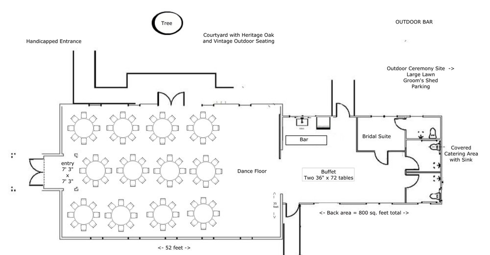 "Layout for 96-130 people using fifteen 60"" Round Tables with 8-10 chairs per table"