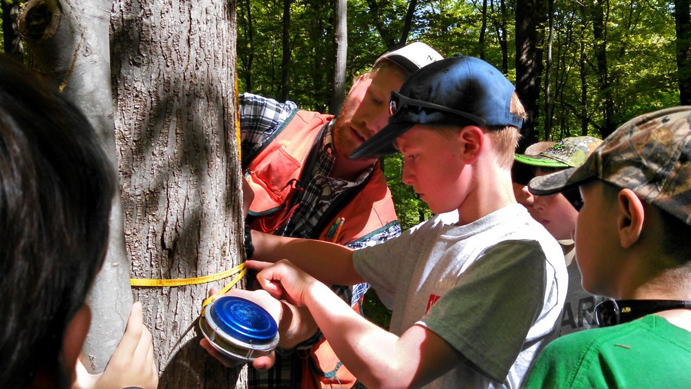 District Forester AJ Smith shows Boy Scouts how to take a diameter of a tree