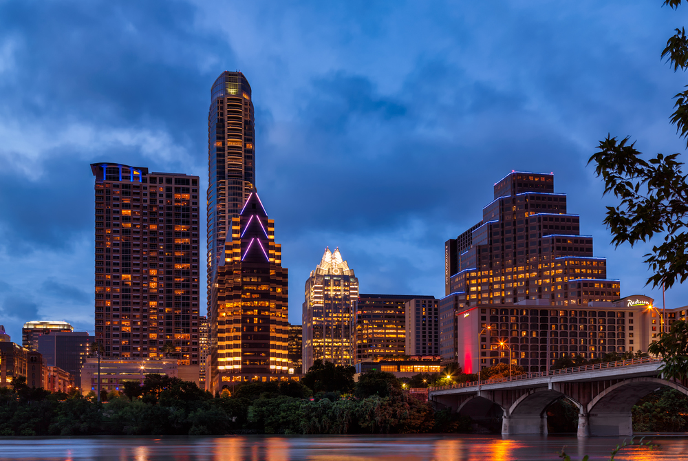 Parting shot of the Austin Skyline in between storms last night