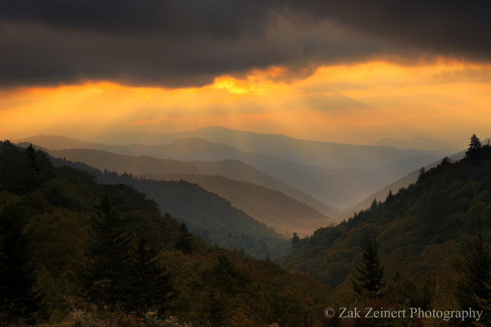 Probably my favorite shot of the trip - sunrise in the Smoky Mountains
