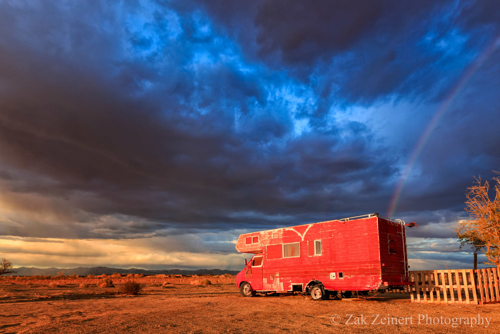 Red RV in beautiful golden hour light