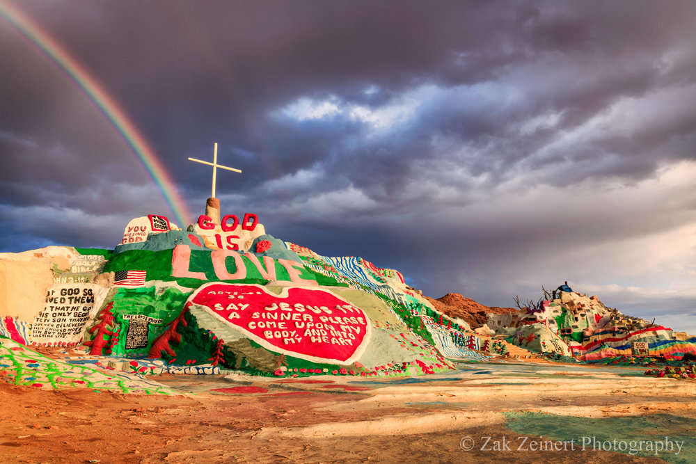 Salvation Mountain at sunset