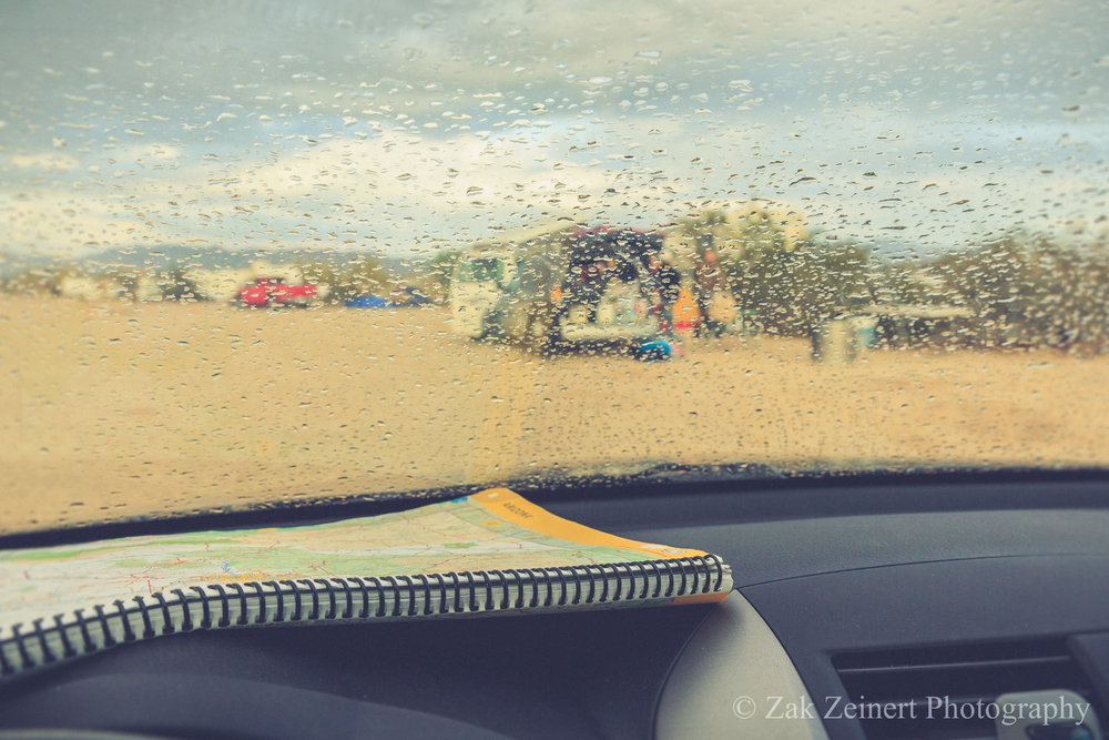 Waiting for the rain to stop at Slab City