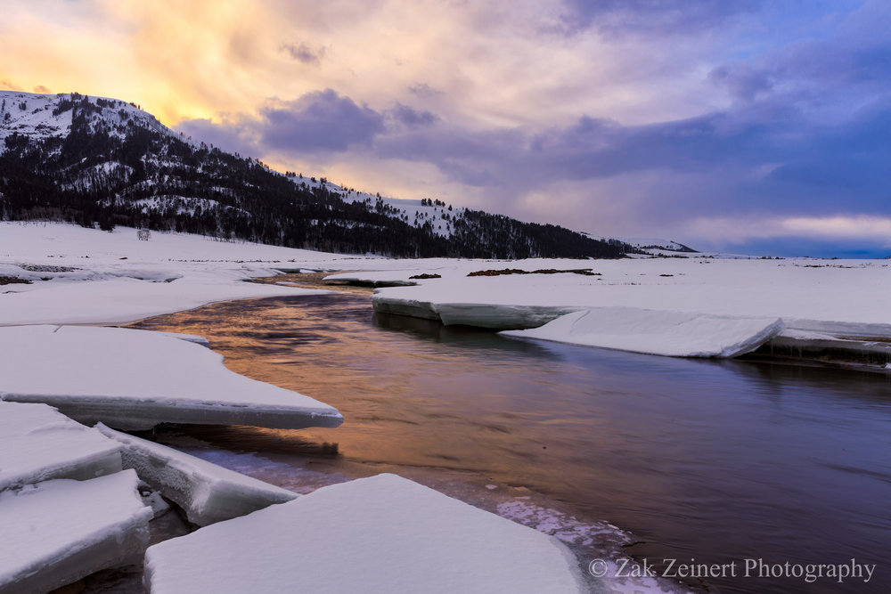 Sunset at Yellowstone, had to stand on ice to get this shot