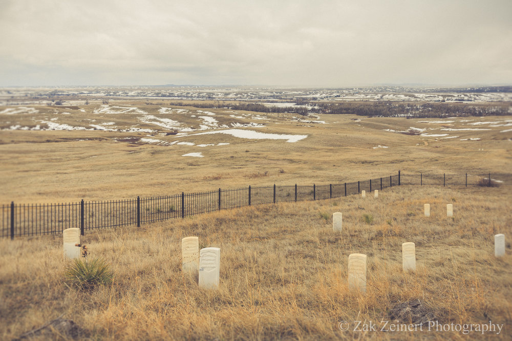 Graves for Custer's men. Each tombstone is laid in the location where it's owner's body was found