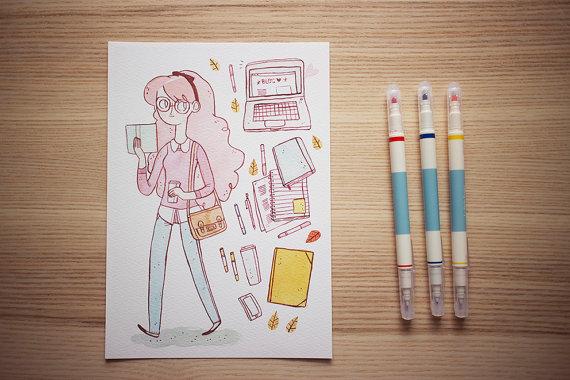 Back to School art print by Frannerd