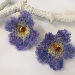 "Periwinkle ""Forget me not"" earrings are needle felted studs with beaded embellishment"