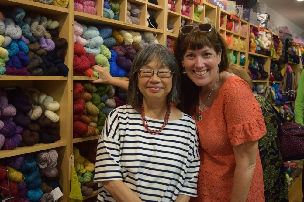 Pearl Chin, owner of Knitty City and Kristen Couchot, NYC Yarn Crawl organizer.