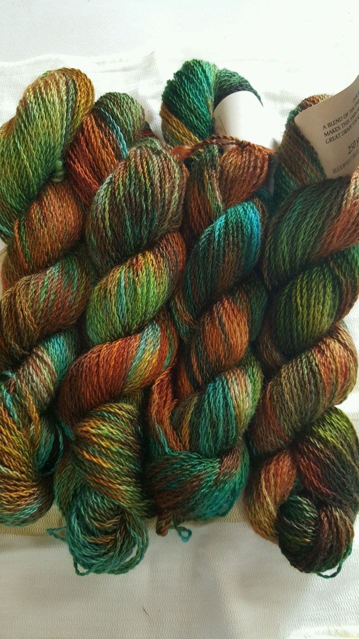 Multi colored hand dyed yarn