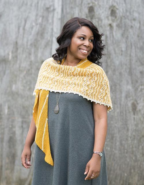 Designer Mara Licole wearing Wild Flowers + Honey Shawl