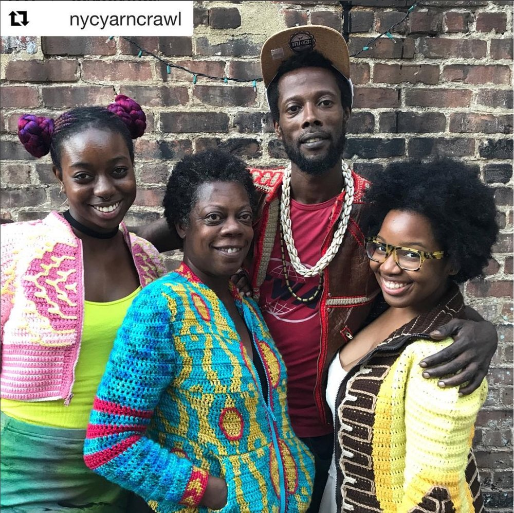 Nacinimod with friends and Claudette Brady, owner of Slip Stitch Needle Craft in Brooklyn during the New York City Yarn Crawl in September 2017.