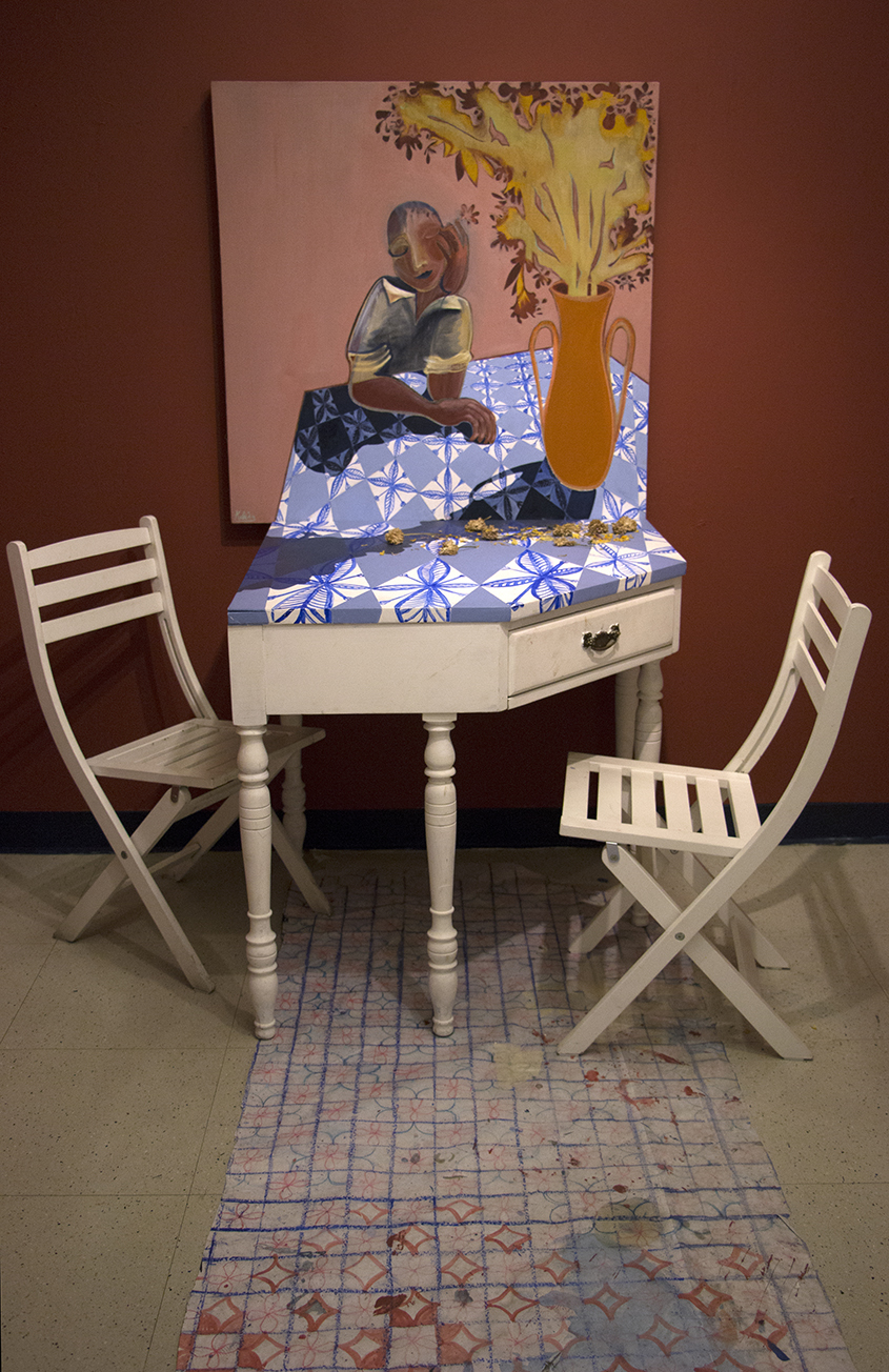 Meditation No2   Acrylic and oil on linen, 90x90 cm / 35x35 inches  Wooden Table and Chairs