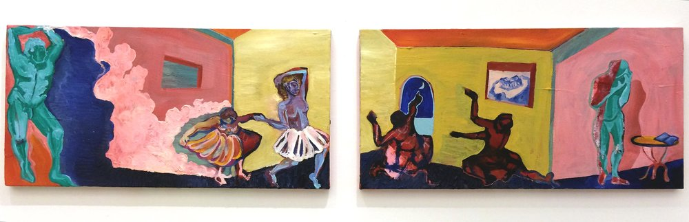 The Dance of the Gypsies   Diptych - Oil on canvas, 15x40 cm / 5.9x15.7 inches