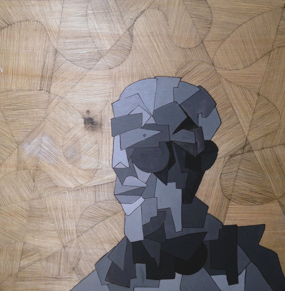 Shape Man- Grayscale   Acrylic and ink on wood, 40x40 cm / 15.7x15.7 inches