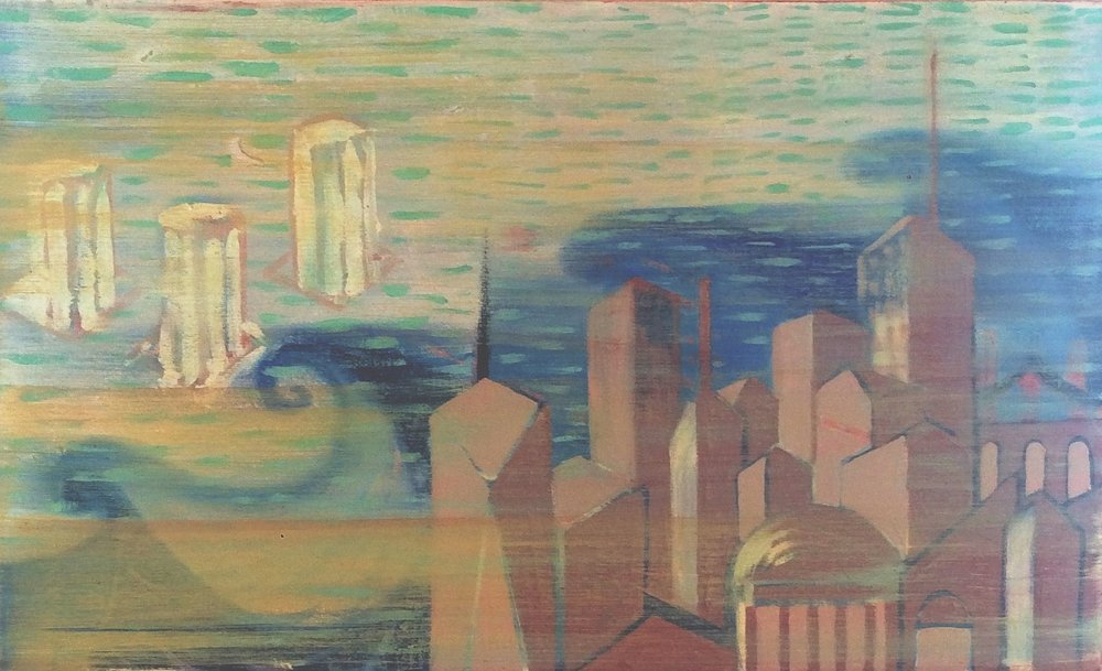 New York-Aegean   Oil on canvas, 30x50 cm / 11,8x19,6 inches